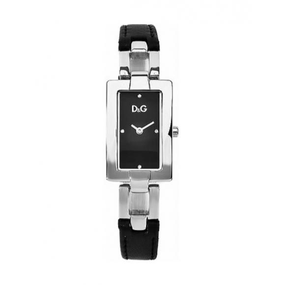 Orologio Dolce & Gabbana con cinturino di pelle e cassa acciaio con zirconi