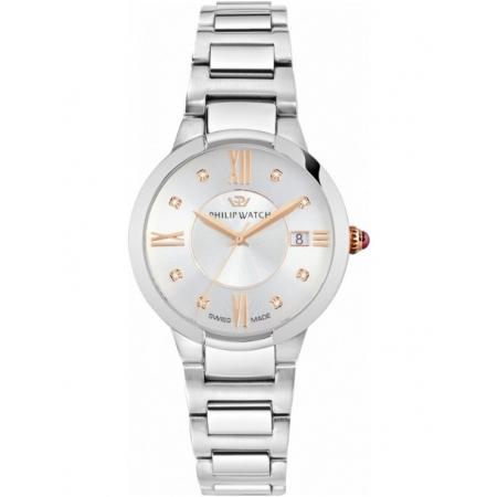 Orologio Philip Watch in acciaio con cassa 34mm e indici oro rosa con diamanti