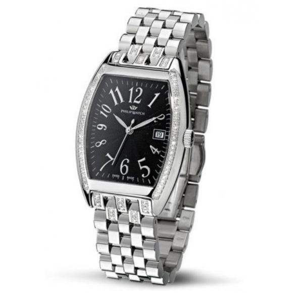 Orologio Philip Watch in acciaio con cassa rettangolare con diamanti lato cassa