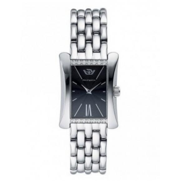 Orologio Philip Watch in acciaio con cassa rettangolare e quadrante nero con diamanti lato cassa