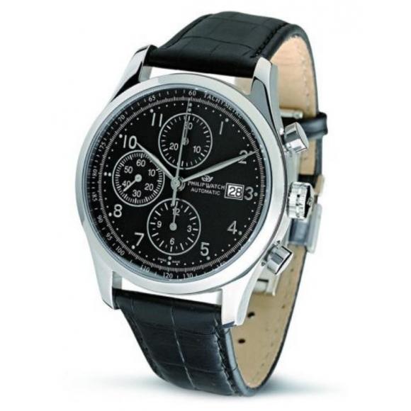 Orologio uomo Philip Watch automatico con cinturino nero di pelle e cassa acciaio
