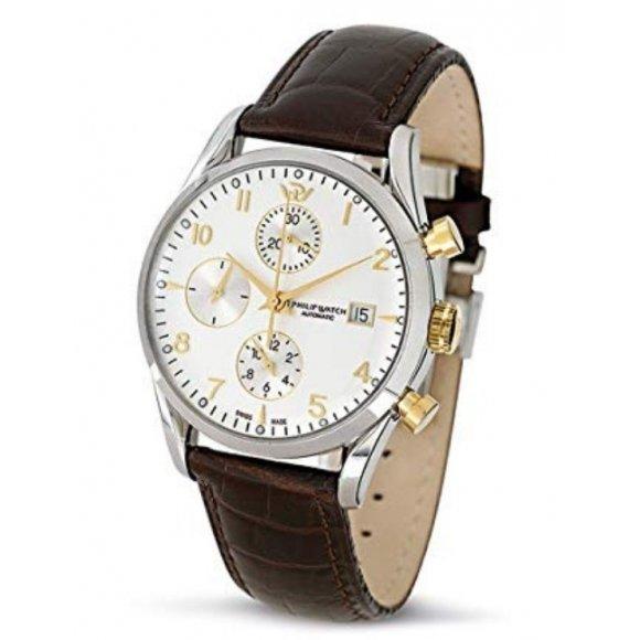 Orologio uomo Philip Watch automatico con cinturino di pelle marrone e cassa acciaio