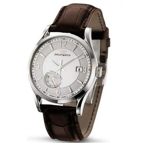 Orologio Uomo Philip Watch automatico con riserva di carica con cinturino di pelle e cassa acciaio