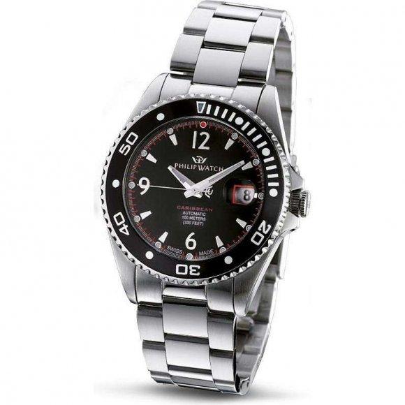 Orologio Uomo Philip Watch in acciaio con cassa rotonda, ghiera girevole e quadrante nero