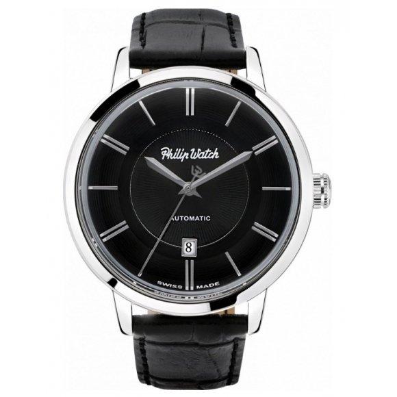 Orologio uomo Philip Watch automatico con cinturino di pelle nero e cassa acciaio 43mm