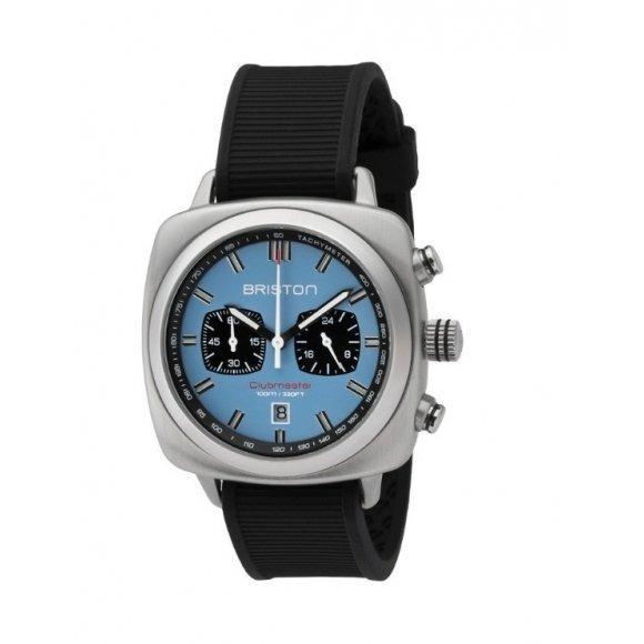 Orologio Uomo Briston Clubmaster Sport Acciaio - Cronografo quadrante blu cielo opaco