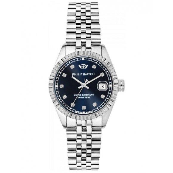 Orologio Philip Watch in acciaio con cinturino jubilèè e cassa rotonda con quadrante blu 31mm