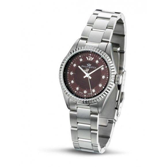 Orologio Philip Watch in acciaio con quadrante brown effetto mandala con indici di diamanti 39mm