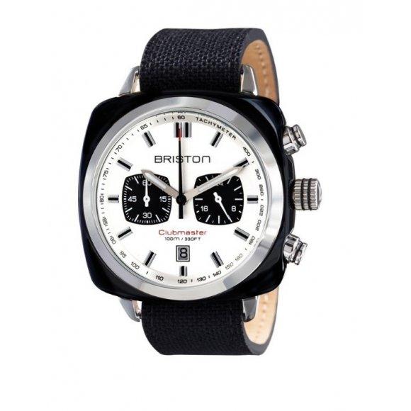 Orologio Uomo Briston Clubmaster Sport Acetato - Cronografo nero quadrante bianco