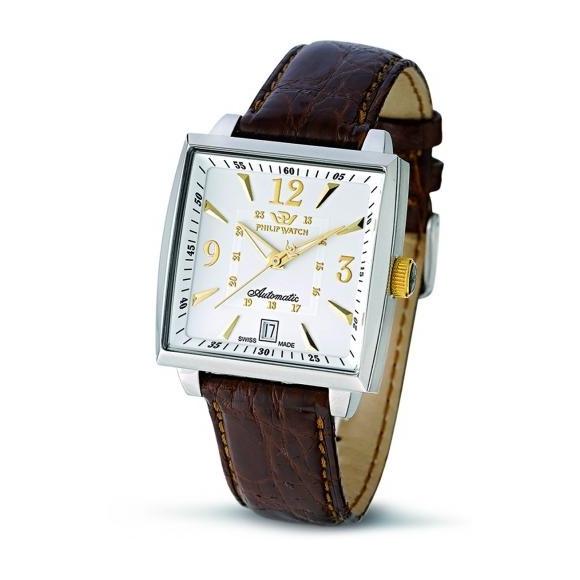 Orologio uomo Philip Watch automatico con cassa quadrata e cinturino di pelle marrone