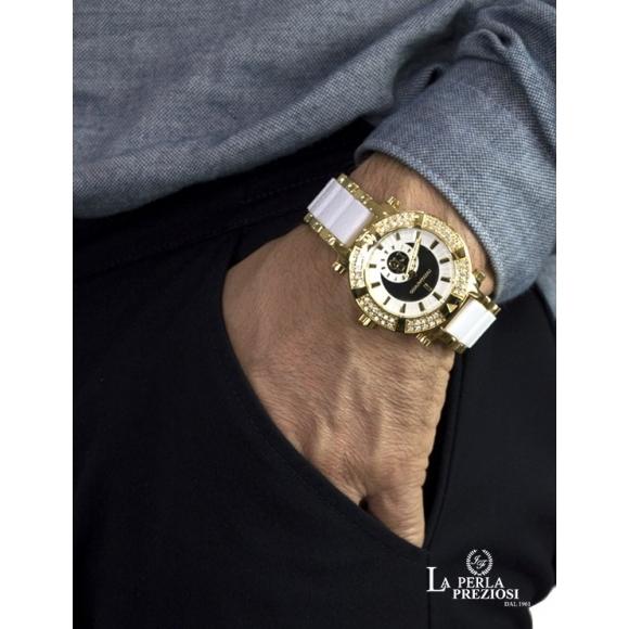 Orologio Roccobarocco unisex con cassa in acciaio e ghiera con strass