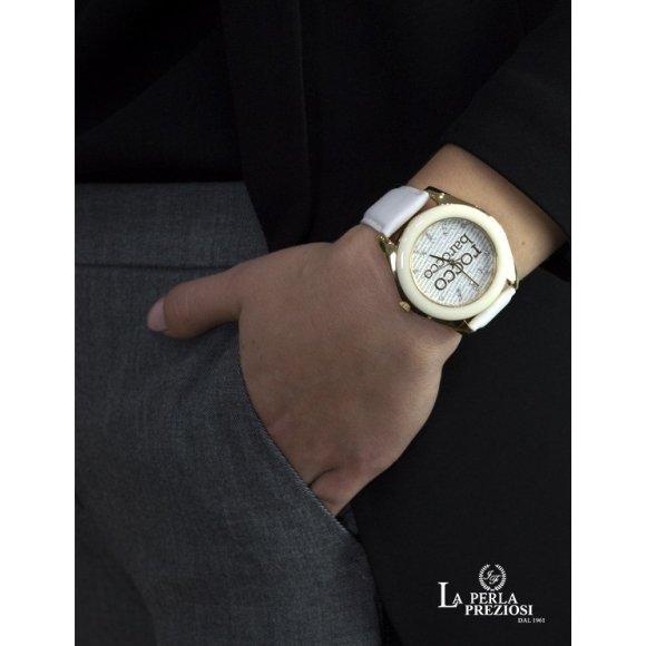 Orologio Roccobarocco con cassa in acciaio e zirconi e cinturino in  pelle