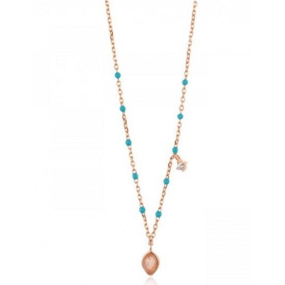 Collana Ania Haie in argento placcato oro rosa 14kt con sfere azzurre