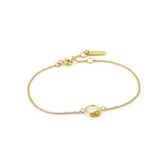 Bracciale Ania Haie in argento placcato oro giallo 14kt con centrale a cerchio