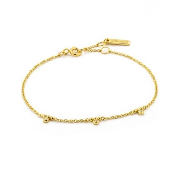 Bracciale Ania Haie in argento placcato oro 14kt con tre punti luci pendenti